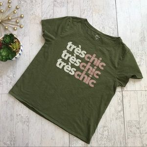 J. Crew Tres Chic tee deep moss green color XL